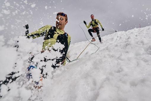 Franco Collè e Tadei Pivk, secondi nel 2021, mentre si godono la discesa. ©Chiara Guglielmina