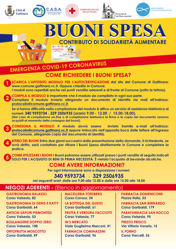 Emergenza coronavirus, anche a Gattinara i buoni spesa per sostenere le persone in difficoltà
