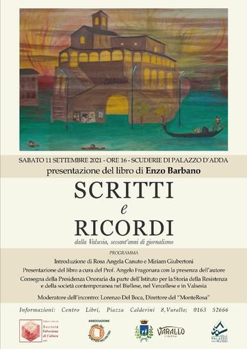 A Varallo la presentazione del libro di Enzo Barbano
