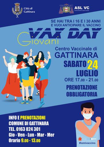 A Gattinara Sabato 24 luglio dalle 17.00 alle 21.00 il VAX DAY GIOVANI